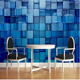 3D Blue Plaids Printed Sturdy Waterproof and Eco-friendly Wall Mural