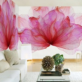 3D Red Flowers Printing Sturdy Waterproof and Eco-friendly Wall Mural