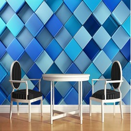 3D Blue Plaids Printed PVC Sturdy Waterproof and Eco-friendly Wall Mural