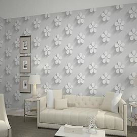 3D White Petals Printed PVC Sturdy Waterproof and Eco-friendly Wall Mural