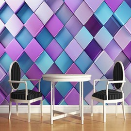 3D Purple and Blue Plaids Printed Sturdy Waterproof and Eco-friendly Wall Mural