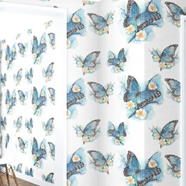 3D Blue Butterflies Printed on White Background Sturdy Waterproof and Eco-friendly Wall Mural