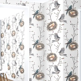 3D Birds Eggs Branches PVC Sturdy Waterproof Eco-friendly Self-Adhesive White Wall Mural