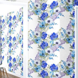 3D Blue Flowers Printed PVC Waterproof Sturdy Eco-friendly Self-Adhesive White Wall Murals