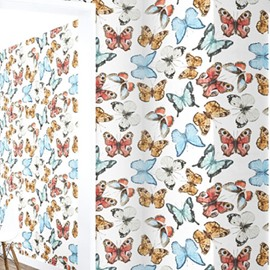 3D Colored Butterflies Sturdy Waterproof and Eco-friendly White Wall Mural
