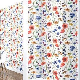 3D Colored Flowers Grasses PVC Sturdy Waterproof and Eco-friendly Wall Mural