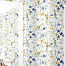 3D Blue and Yellow Flower PVC Sturdy Waterproof and Eco-friendly White Wall Mural
