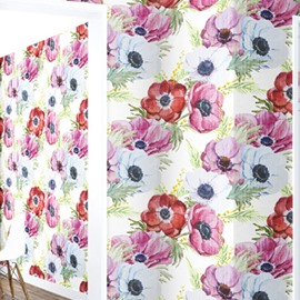 3D Red Pink White Flowers PVC Sturdy Waterproof and Eco-friendly Self-Adhesive Wall Mural