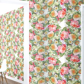 3D Pink Yellow Flowers Green Leaves PVC Sturdy Waterproof and Eco-friendly Wall Mural