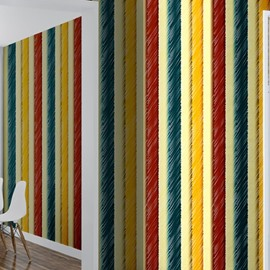 3D Green Yellow Red Stripes Printed PVC Sturdy Waterproof and Eco-friendly Wall Mural