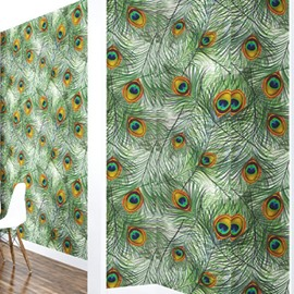 3D Green Feathers Printed Sturdy Waterproof and Eco-friendly Wall Mural