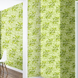 3D Green Background with Floral Pattern Sturdy Waterproof and Eco-friendly Wall Mural