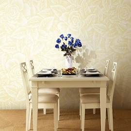3D Beige Floral Pattern PVC Sturdy Waterproof and Eco-friendly Wall Mural