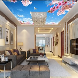 3D Pink Flowers Doves in Blue Sky Waterproof Sturdy Eco-friendly Self-Adhesive Ceiling Murals
