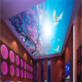 3D Purple Flowers Dove Printed Waterproof Durable and Eco-friendly Ceiling Murals