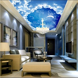 3D Blue Sky with Creature Outlines Pattern Waterproof Durable and Eco-friendly Ceiling Murals