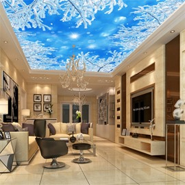 3D Snowy Branches under Blue Sky Waterproof Durable and Eco-friendly Ceiling Murals