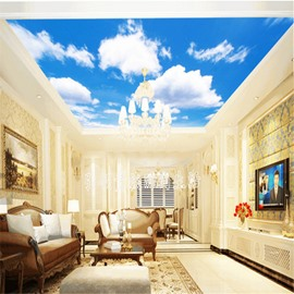 3D Blue Sky with Clouds Waterproof Durable and Eco-friendly Ceiling Murals
