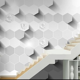 3D White Hexagons Printed PVC Sturdy Waterproof Eco-friendly Self-Adhesive Wall Mural