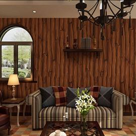 3D Coffee Wood Pattern PVC Sturdy Waterproof Eco-friendly Self-Adhesive Wall Mural