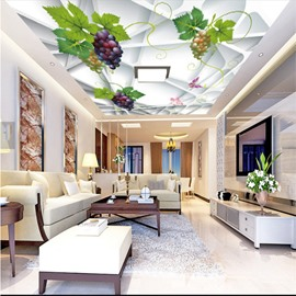 3D Grapes Irregular Geometries Printed PVC Waterproof Sturdy Eco-friendly Self-Adhesive Ceiling Murals