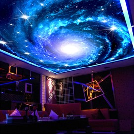 3D Whirlpool Galactic Sky Printed PVC Waterproof Sturdy Eco-friendly Self-Adhesive Ceiling Murals