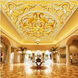 3D Golden Floral Pattern PVC Waterproof Sturdy Eco-friendly Self-Adhesive Ceiling Murals