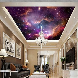 3D Galactic Sky Printed PVC Waterproof Sturdy Eco-friendly Self-Adhesive Ceiling Murals