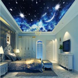 3D Galaxy Printed PVC Waterproof Sturdy Eco-friendly Self-Adhesive Ceiling Murals