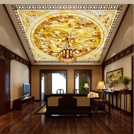 3D Golden Dragons Printed PVC Waterproof Sturdy Eco-friendly Self-Adhesive Ceiling Murals