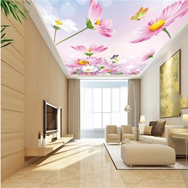 3D Pink Flowers Printed PVC Waterproof Sturdy Eco-friendly Self-Adhesive Ceiling Murals