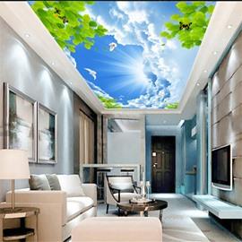 3D Blue Sky PVC Waterproof Sturdy Eco-friendly Self-Adhesive Ceiling Murals