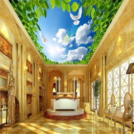 3D Leaves under Bright Sky Printed PVC Waterproof Sturdy Eco-friendly Self-Adhesive Ceiling Murals