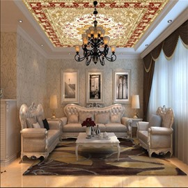 3D Floral Pattern Ethnic Style PVC Waterproof Sturdy Eco-friendly Self-Adhesive Ceiling Murals