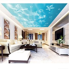 3D Starfishes Fishes Pattern PVC Waterproof Sturdy Eco-friendly Self-Adhesive Ceiling Murals