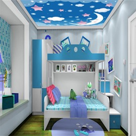 3D Moon Stars Cartoon Pattern PVC Waterproof Sturdy Eco-friendly Self-Adhesive Ceiling Murals