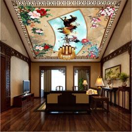 3D Flowers Horses Pattern PVC Waterproof Sturdy Eco-friendly Self-Adhesive Ceiling Murals