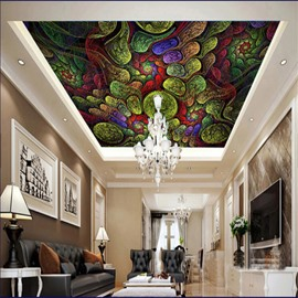 3D Colored Pattern PVC Waterproof Sturdy Eco-friendly Self-Adhesive Ceiling Murals