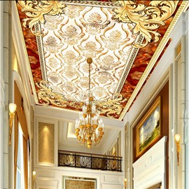 3D Golden Pattern PVC Waterproof Sturdy Eco-friendly Self-Adhesive Ceiling Murals