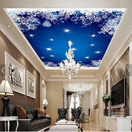 3D Blue Star Sky Pattern PVC Waterproof Sturdy Eco-friendly Self-Adhesive Ceiling Murals