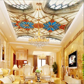 3D Exotic Pattern PVC Waterproof Sturdy Eco-friendly Self-Adhesive Ceiling Murals
