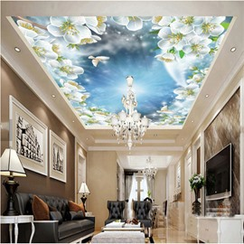 3D White Flowers under Sky Pattern PVC Waterproof Sturdy Eco-friendly Self-Adhesive Ceiling Murals