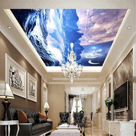 3D Snow Mountains PVC Waterproof Sturdy Eco-friendly Self-Adhesive Ceiling Murals