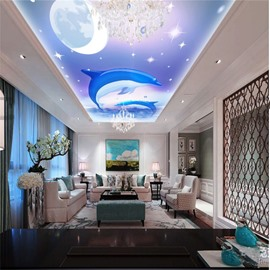 3D Jumping Dolphins above Sea PVC Waterproof Sturdy Eco-friendly Self-Adhesive Ceiling Murals
