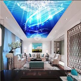 3D Blue Sea Pattern PVC Waterproof Sturdy Eco-friendly Self-Adhesive Ceiling Murals