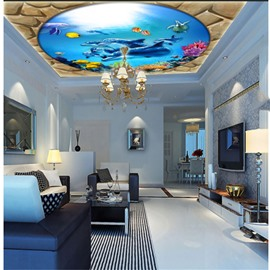 3D Dolphins Fishes Blue Ocean PVC Waterproof Sturdy Eco-friendly Self-Adhesive Ceiling Murals