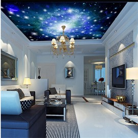3D Blue Galaxy Pattern PVC Waterproof Sturdy Eco-friendly Self-Adhesive Ceiling Murals
