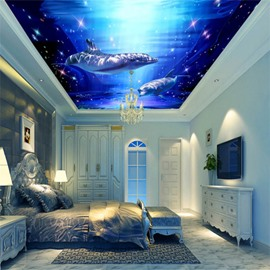 3D Blue Sea Containing Dolphins PVC Waterproof Sturdy Eco-friendly Self-Adhesive Ceiling Murals