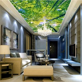 3D Green Trees Bright Sky PVC Waterproof Sturdy Eco-friendly Self-Adhesive Ceiling Murals