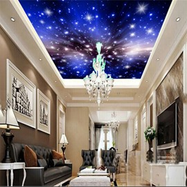 3D Galaxy Printed PVC Waterproof Sturdy Eco-friendly Self-Adhesive Blue Ceiling Murals